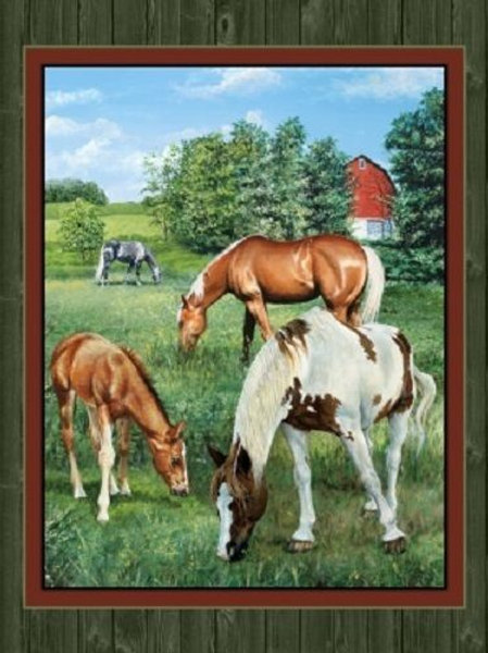 Wild Wings Valley Crest Horses Fields Landscape Quilt Fabric Panel