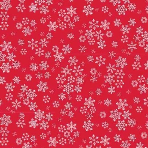 Frosty Christmas Red Snowflakes Quilt Fabric