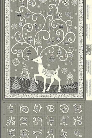 Scandi Christmas Silver Advent Calendar Quilt Fabric Panel