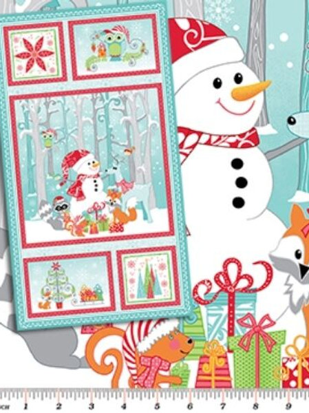 Frosty Forest Snowmen Fabric Panel