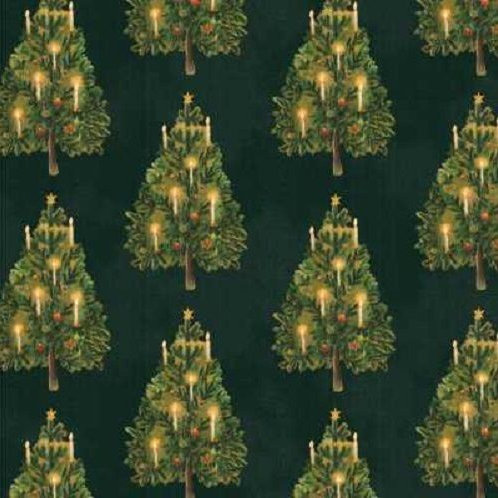 Victorian Christmas Trees Quilt Fabric