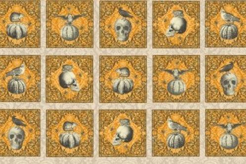 All Hallows Eve Skulls Halloween Quilt Fabric Panel