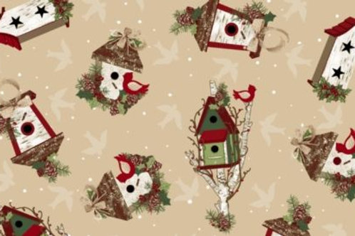 A Christmas To Remember Birdhouses Quilt Fabric