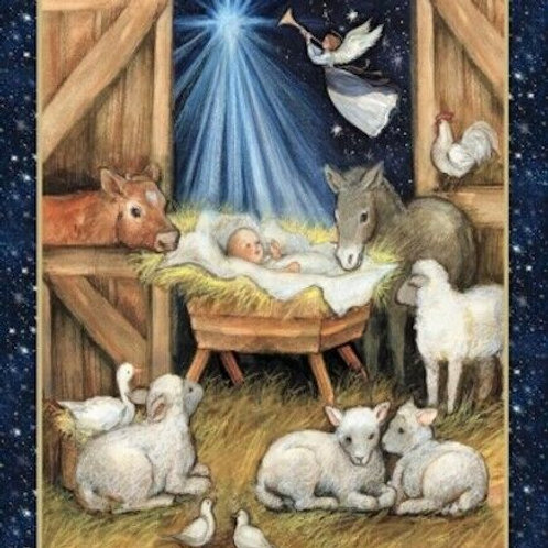 Christmas Nativity Quilt Fabric Panel