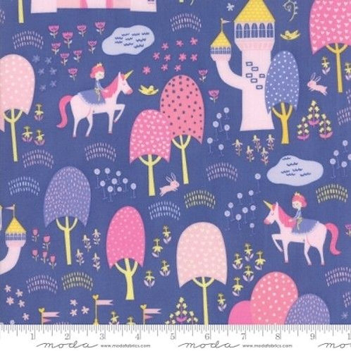 Once Upon A Time Purple Princesses Castles Forest Quilt Fabric