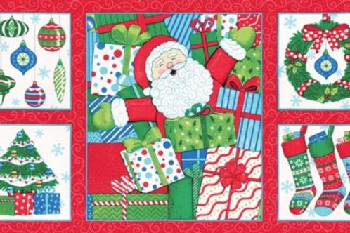 Ho Ho Ho Santa Christmas Fabric Panel