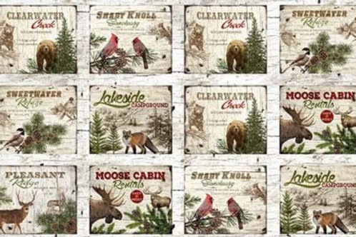Moose Lodge Cabins Bears Foxes Country Fabric Panel