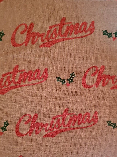 Retro Christmas Red Glitter Holly Quilt Fabric