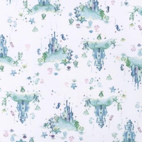 Life Aquatic Water Castle Sea Horses Quilt Fabric