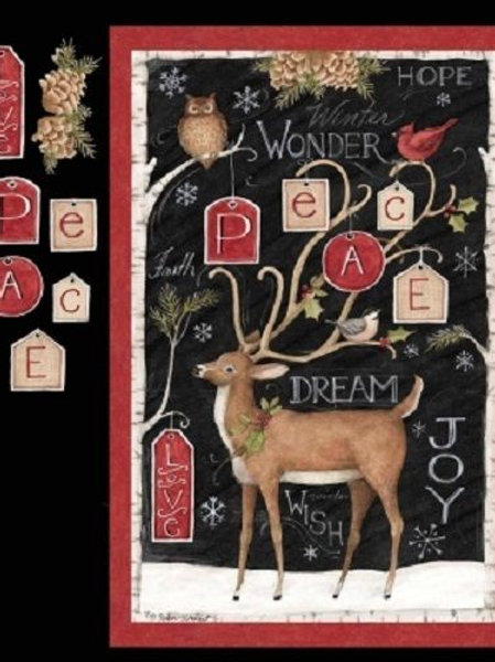 Peace Reindeer Christmas Quilt Fabric Panel