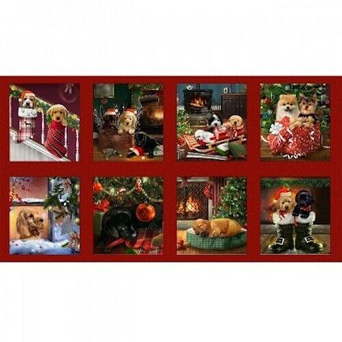 Fireside Pups Snuggly Puppies Christmas Quilt Fabric Panel
