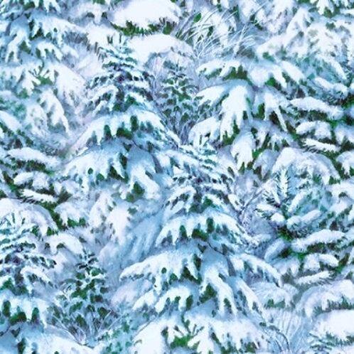 Quiet Bunny & Noisy Puppy Snowy Trees Quilt Fabric