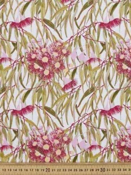 Flowering Gum Australian Native Gum Leaves Quilt Fabric