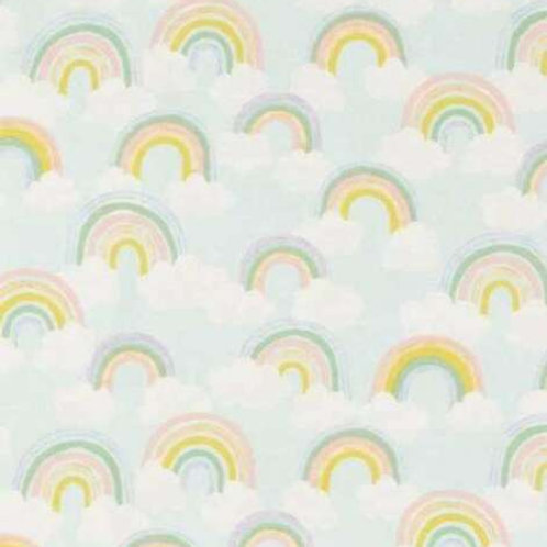 Rainbows Clouds Sky Flannel Quilt Fabric