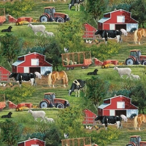 Farm Scenic Quilt Fabric 1/2 yd