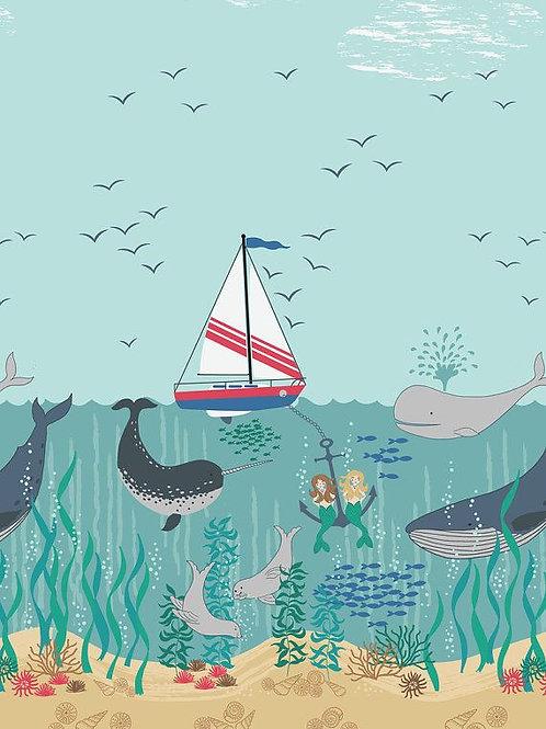 Tales Of The Sea Ocean Mermaids Quilt Fabric 1/2 yd
