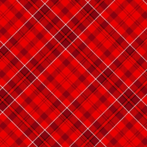 Fireside Kittens Christmas Red DIagonal Plaid Quilt Fabric