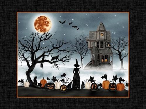 Harvest Moon Halloween Quilt Fabric Panel