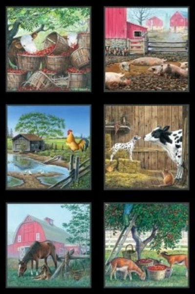 Farm Life Barns Horses Country Fabric Panel