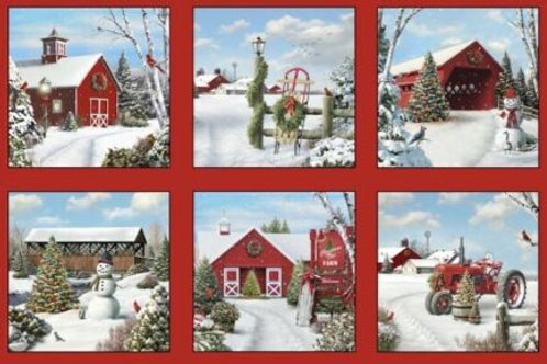 Tis The Season Snow Scenic Barns Country Christmas Quilt Fabric Panel
