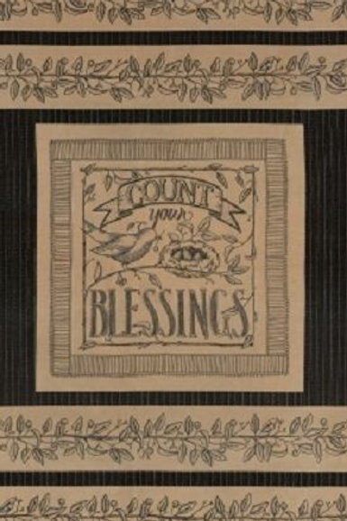 copy of Count Your Blessings Blackboard Nest Eggs Country Quilt Fabric Panel