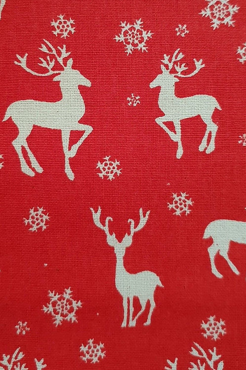 Scandi Red Deer Christmas Quilt Fabric