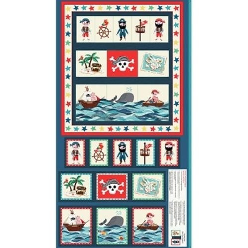 Pirates Whales Treasure Quilt Fabric Panel