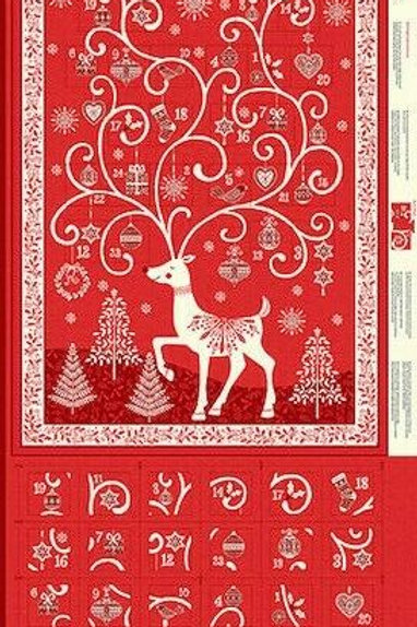 Scandi Christmas Red Advent Calendar Quilt Fabric Panel