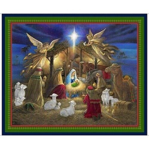 Holy Night Christmas Nativity Quilt Fabric Panel