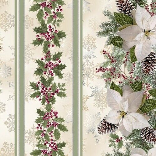 A Very Merry Christmas Poinsettia Holly Stripe Quilt Fabric