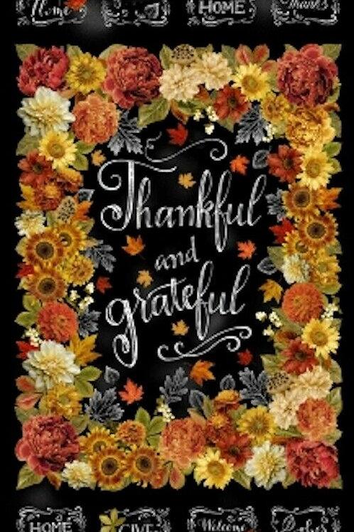 Thankful & Grateful Autumn Fall Leaves Gold Metallic Quilt Fabric Panel