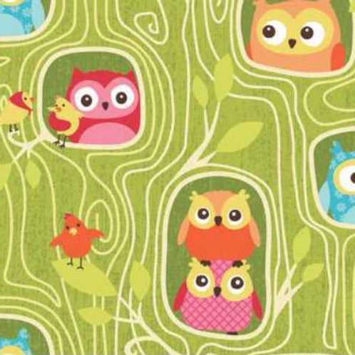 Happy Flappers Green Owls Quilt Fabric