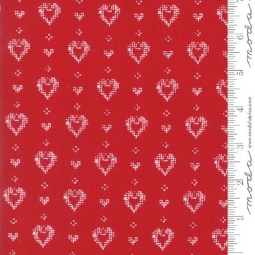 Nordic Stitches Red Hearts Quilt Fabric
