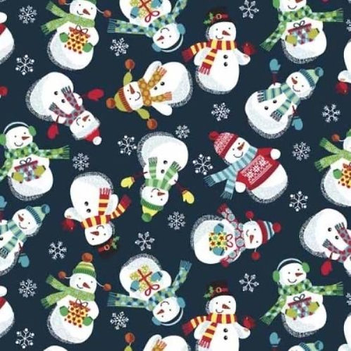 Frosty Christmas Snowmen Quilt Fabric