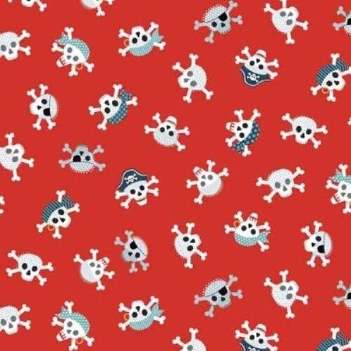 Pirates Red Skull & Crossbones Quilt Fabric
