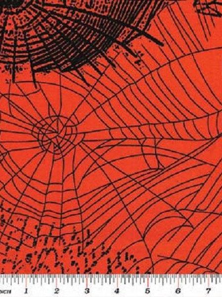Spooktacular Orange Webs Halloween Quilt Fabric