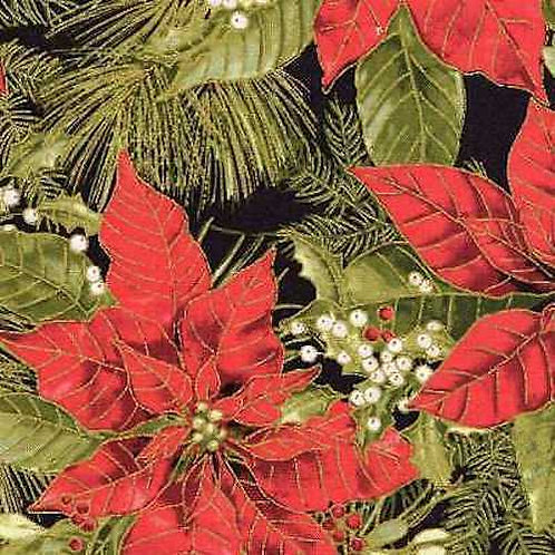 Woodland Christmas Poinsettias Gold Metallic Quilt Fabric