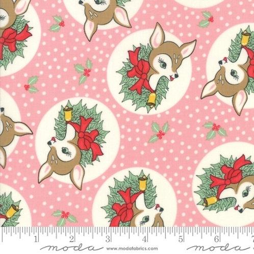 Deer Christmas Pink Reindeer Wreath Quilt Fabric