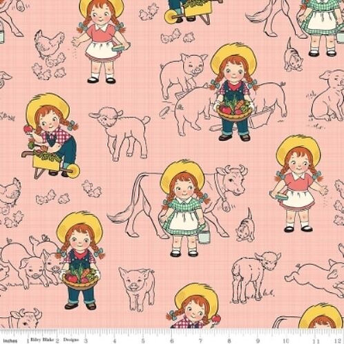 Farm Girl Vintage Style Chicks Lambs Quilt Fabric