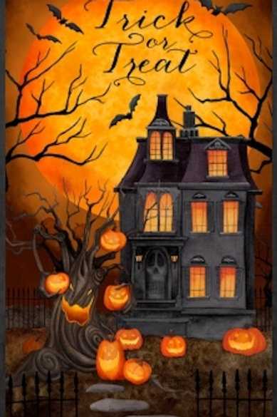 Haunted Night Trick Or Treat Halloween Quilt Fabric Panel