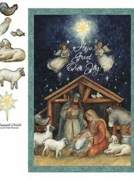 Blessed Child Nativity Christmas Quilt Fabric Panel