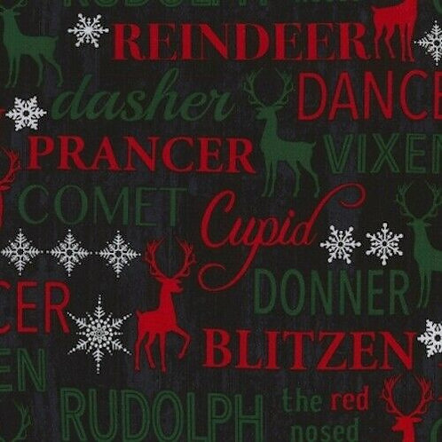 Let It Snow Reindeer Names Snowflakes Christmas Quilt Fabric