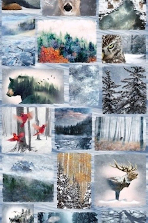 Call Of The Wild Sampler Forest Wildlife Quilt Fabric Panel