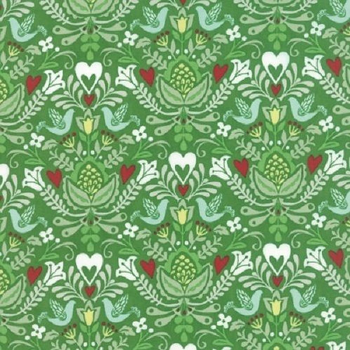 North Woods Birds Hearts Christmas Quilt Fabric
