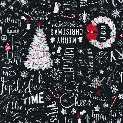 Let It Snow Sampler Christmas Trees Candy Canes Quilt Fabric
