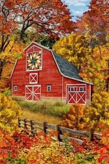 Pumpkin Patch Country Barn Autumn Fall Quilt Fabric Panel