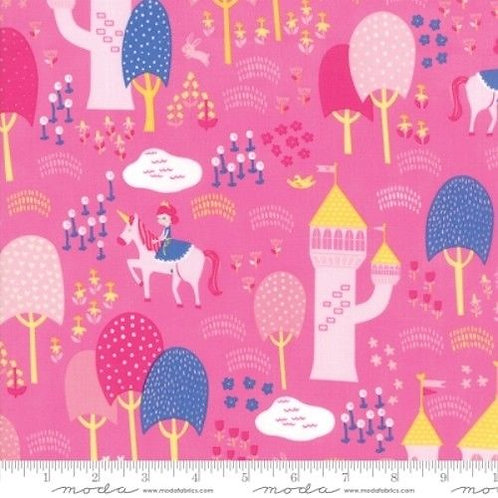 Once Upon A Time Pink Princesses Castles Forest Quilt Fabric