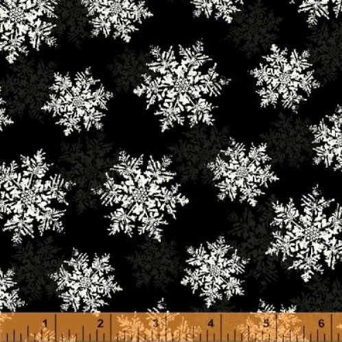 Season's Greetings Black Snowflakes Quilt Fabric