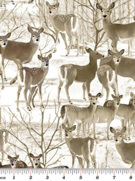 The Great North Deer Snow Quilt Fabric