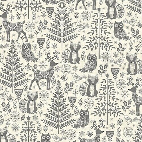 Scandi Christmas Silver Forest Animals Quilt Fabric